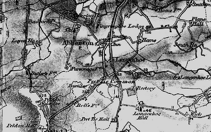 Old map of Langenhoe Hall in 1896