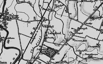 Old map of Langford Hall in 1899
