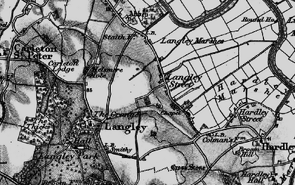Old map of Langley Street in 1898