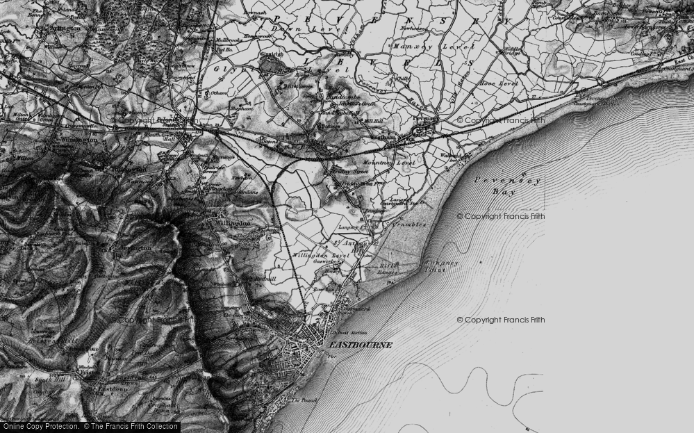 Old Map of Historic Map covering Langney Point in 1895