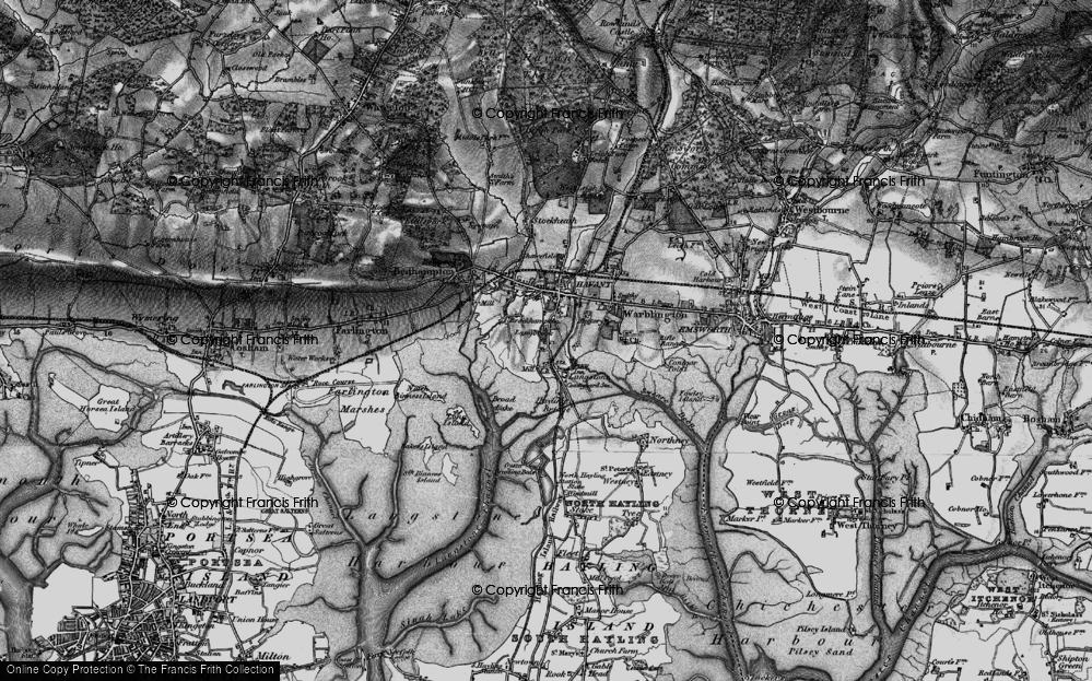 Old Map of Historic Map covering Langstone Bridge in 1895