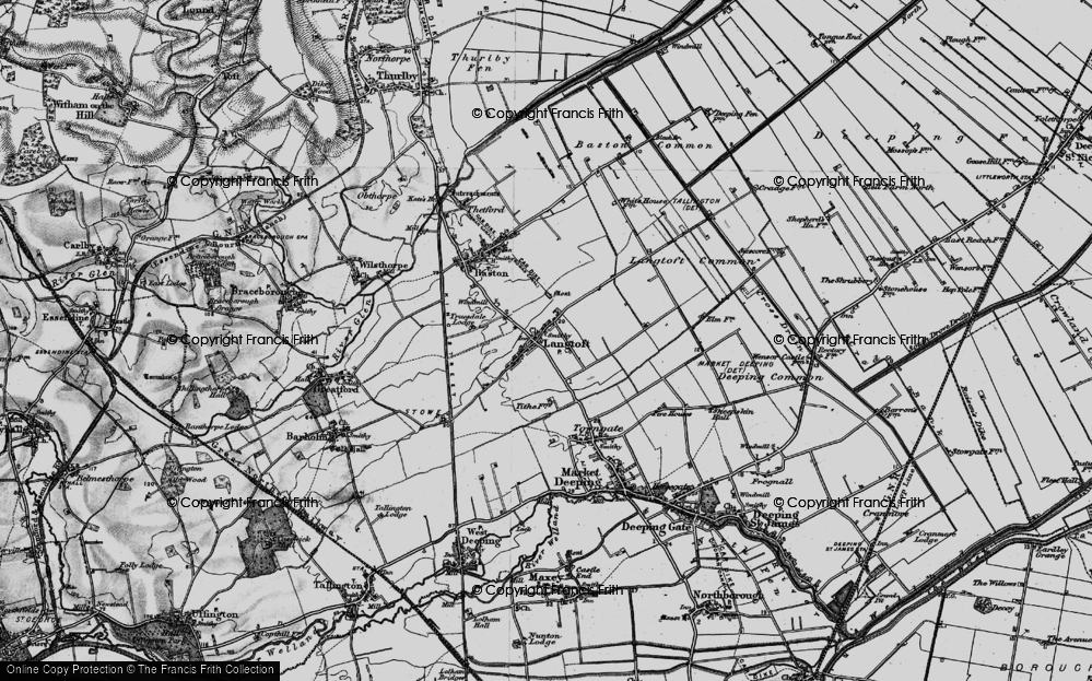 Old Map of Langtoft, 1898 in 1898