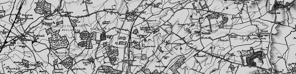 Old map of Langton by Wragby in 1899