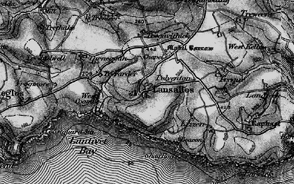 Old map of Lansallos in 1896