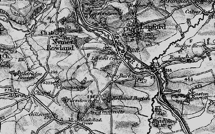 Old map of Lapford Cross in 1898