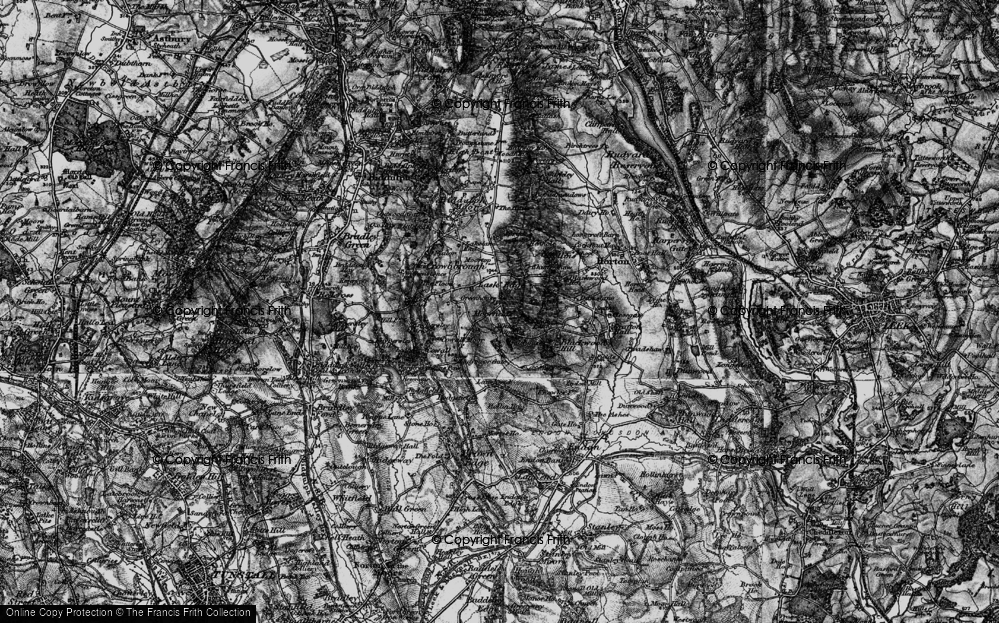 Old Map of Historic Map covering Lanehead in 1897