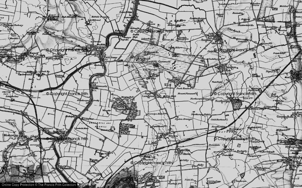 Old Map of Laughton, 1895 in 1895