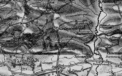 Old map of Launcells Cross in 1896