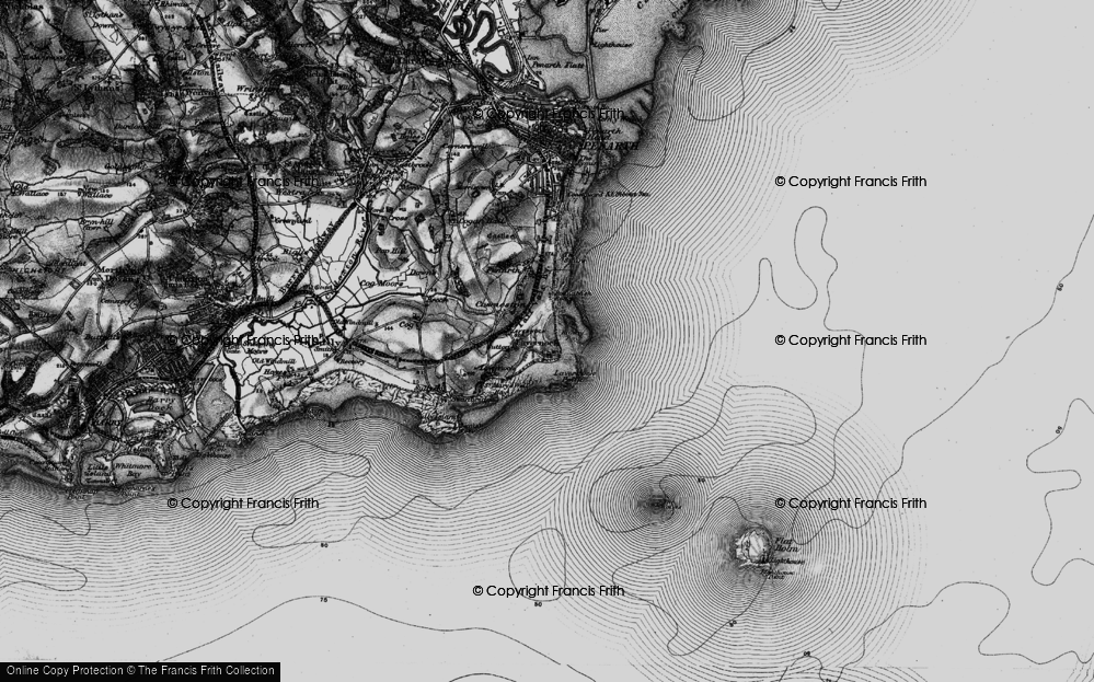 Old Map of Historic Map covering Lavernock Point in 1898