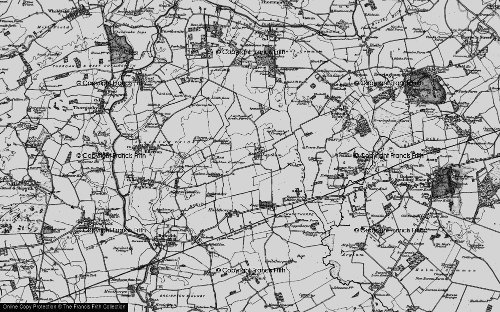 Old Map of Historic Map covering Aughton Ruddings in 1898