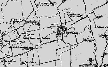 Old map of Aughton Ruddings in 1898