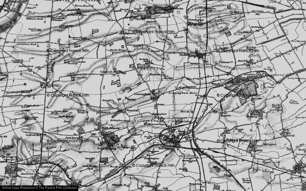 Old Map of Historic Map covering Leasingham Moor in 1895