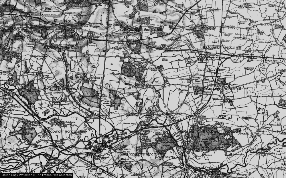 Old Map of Historic Map covering Ledston Park in 1896