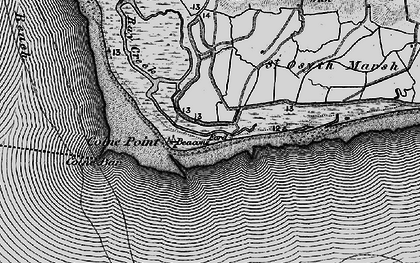 Old map of Lee-over-Sands in 1895