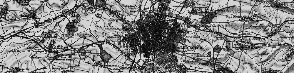 Old map of Leicester in 1899