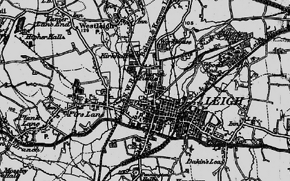 Old map of Leigh in 1896