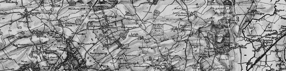 Old map of Leigh Delamere in 1898