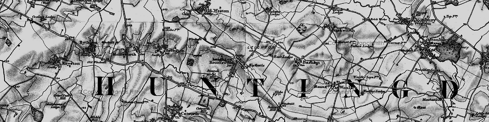 Old map of Leighton Bromswold in 1898