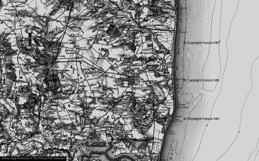 Old Map of Historic Map covering Leiston Common in 1898