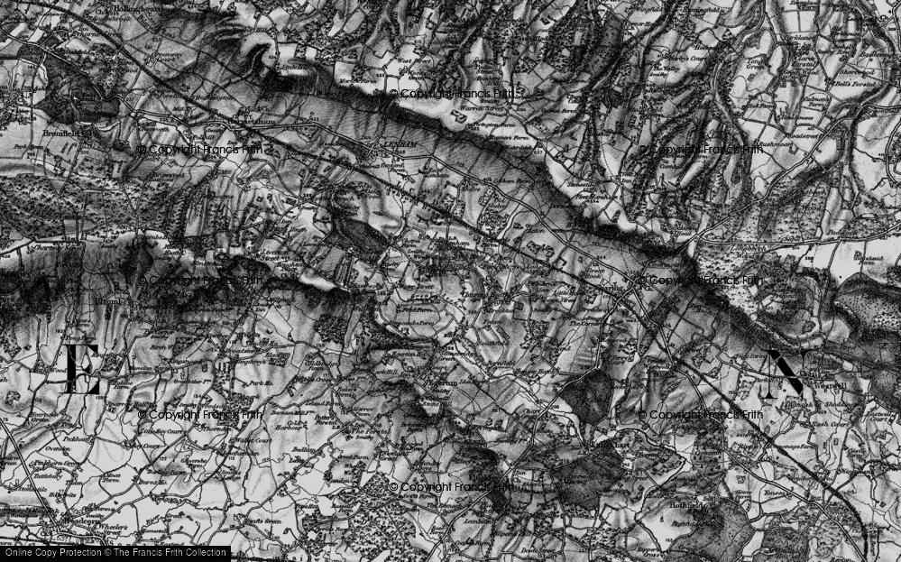 Old Map of Lenham Heath, 1895 in 1895
