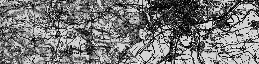 Old map of Lenton Abbey in 1899