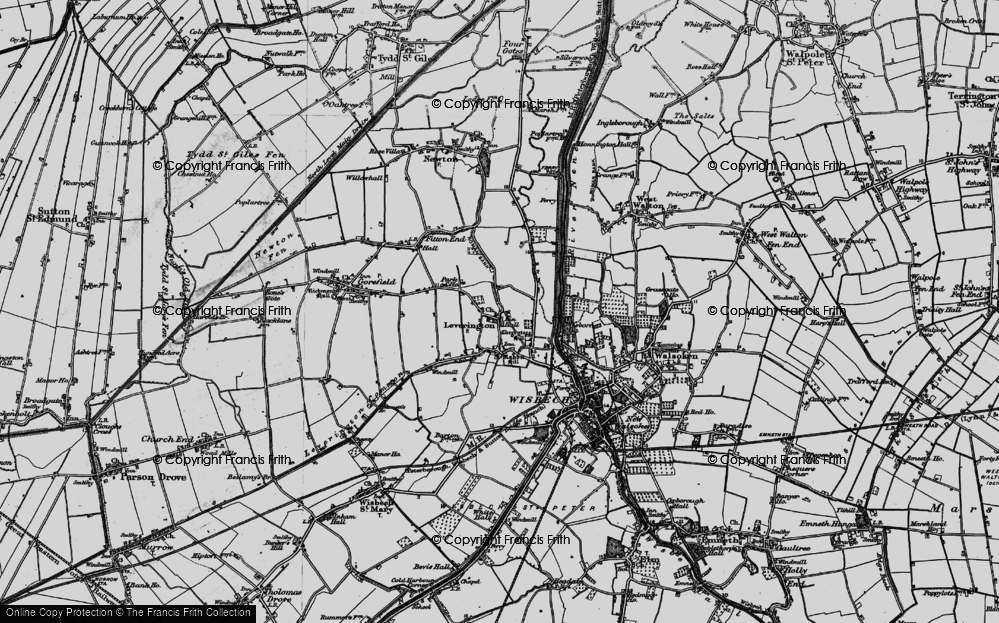Old Map of Leverington, 1898 in 1898
