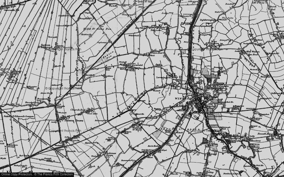 Old Map of Leverington Common, 1898 in 1898