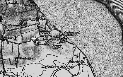 Old map of Leysdown Marshes in 1894