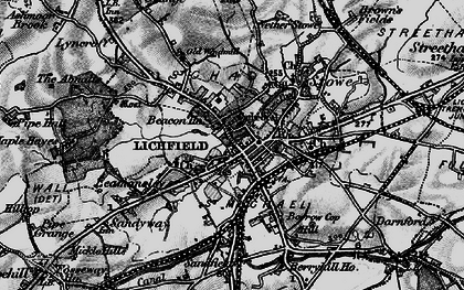 Old map of Lichfield in 1898