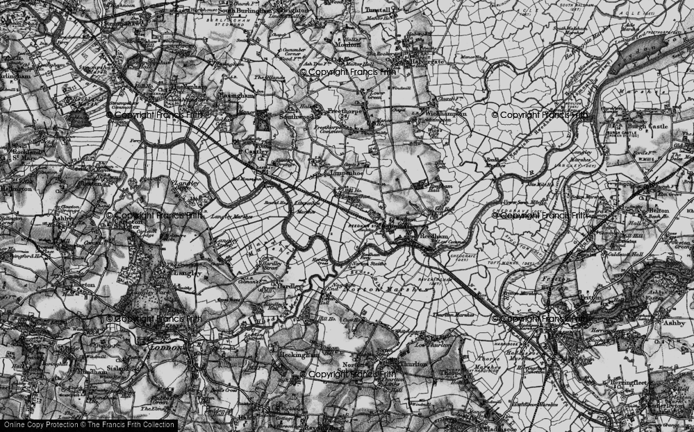 Old Map of Historic Map covering Limpenhoe Marshes in 1898