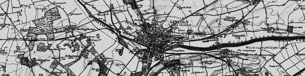 Old map of Lincoln in 1899