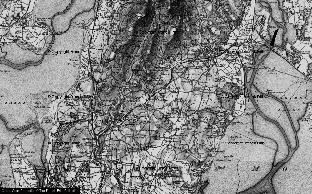 Old Map of Historic Map covering Lindal Cote Cott in 1897