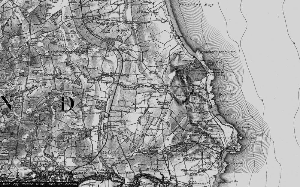 Old Map of Historic Map covering Linton Burn in 1897