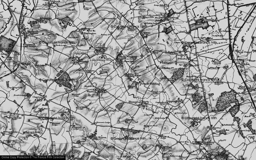 Old Map of Historic Map covering Alconbury Brook in 1898