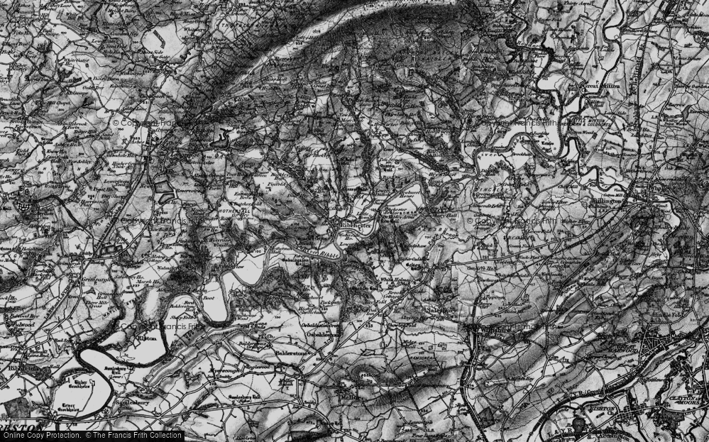 Old Map of Historic Map covering Bank Top in 1896