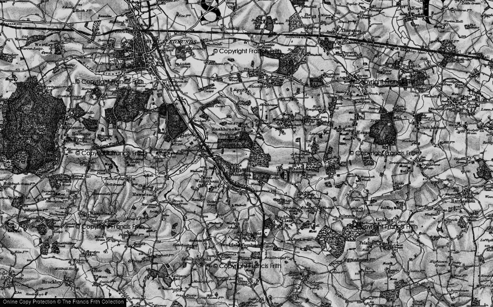 Old Map of Historic Map covering Link Wood in 1898