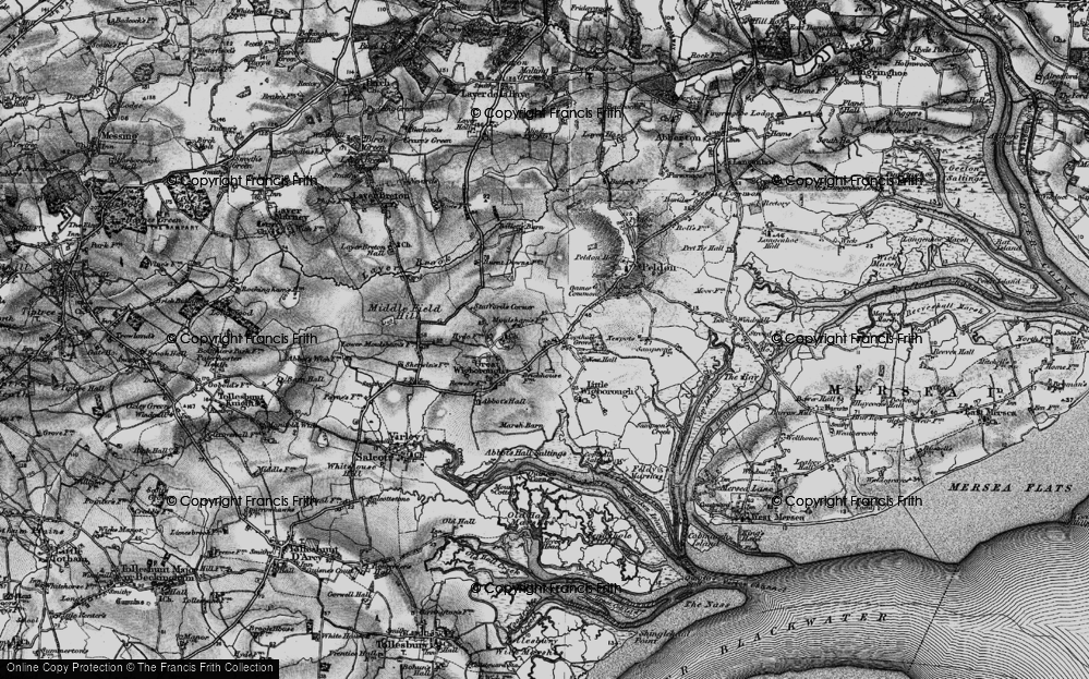 Old Map of Historic Map covering Abbot's Hall Saltings in 1896