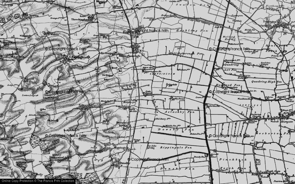 Old Map of Historic Map covering Aslackby Fen in 1898