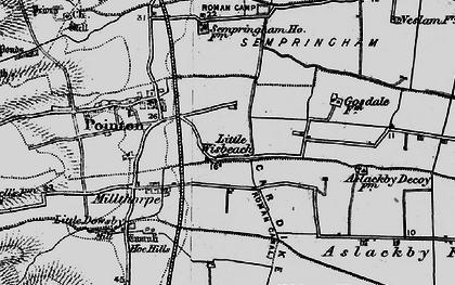Old map of Aslackby Fen in 1898