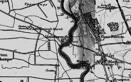 Old map of Gate Burton in 1899