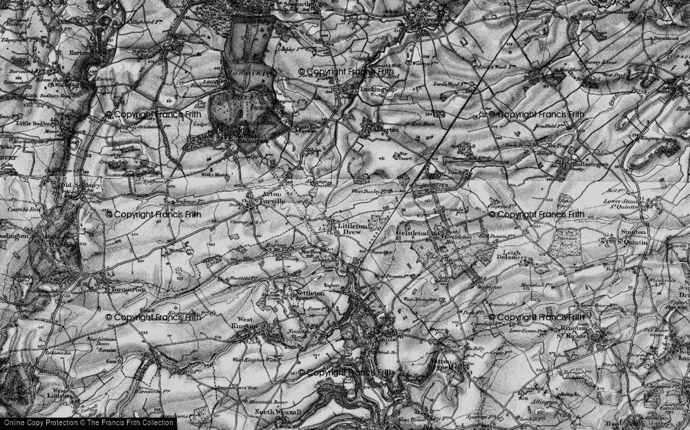 Old Map of Littleton Drew, 1898 in 1898
