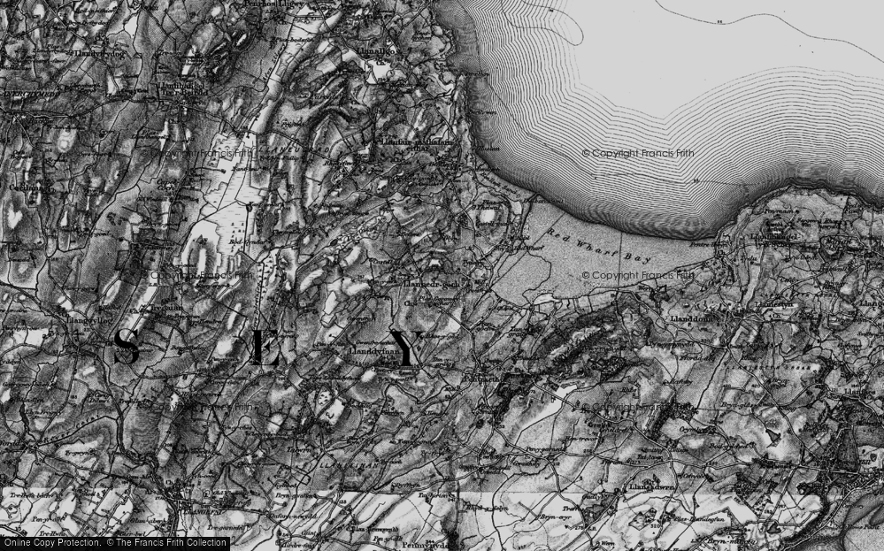 Old Map of Historic Map covering Ynys Isaf in 1899