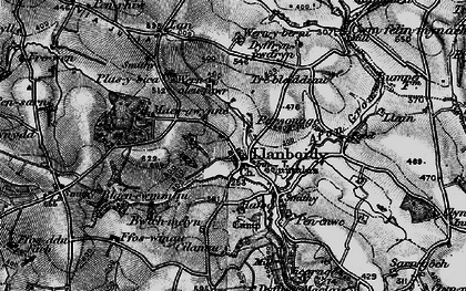 Old map of Afon Gronw in 1898