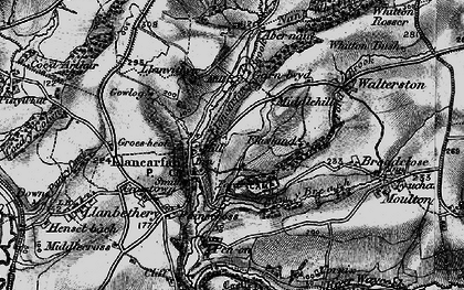 Old map of Llancarfan in 1897