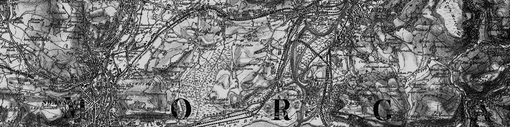 Old map of Llandarcy in 1898