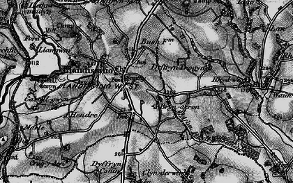 Old map of Afon Rhydybennau in 1898