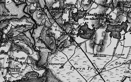 Old map of Ynys-las in 1899