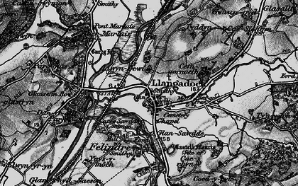 Old map of Llangadog in 1898