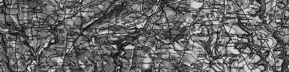 Old map of Afon Tigen in 1898