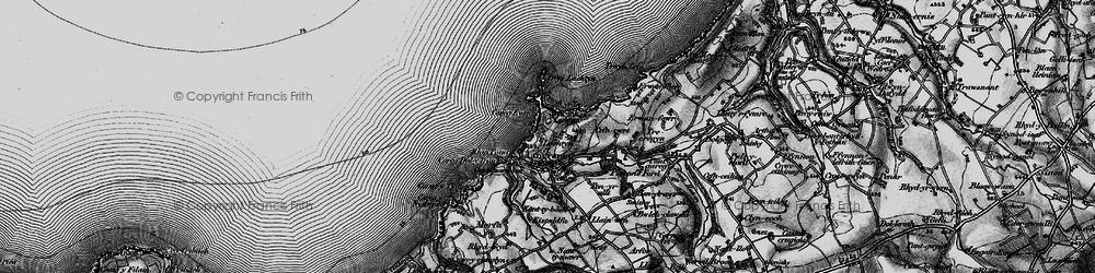 Old map of Ynys-Lochtyn in 1898